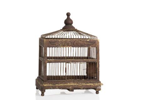 edwardian: Antique Edwardian birdcage on a white background Stock Photo