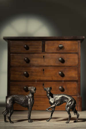 lurcher: Pair of antique bronze greyhound dog figures