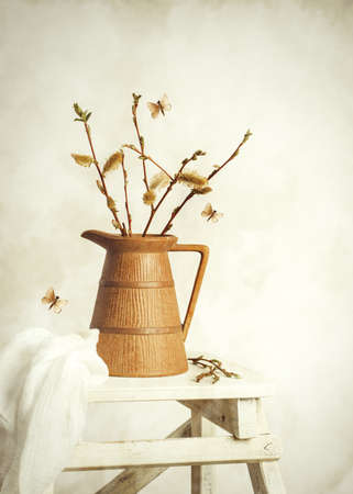Spring still life with jug of catkin sprigs on step ladder  Stock Photo