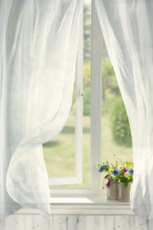 Pots of flowers in country cottage window with billowing curtains
