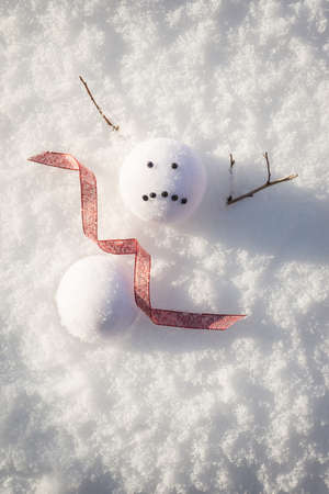 Sad snowman melted in the snow  Foto de archivo