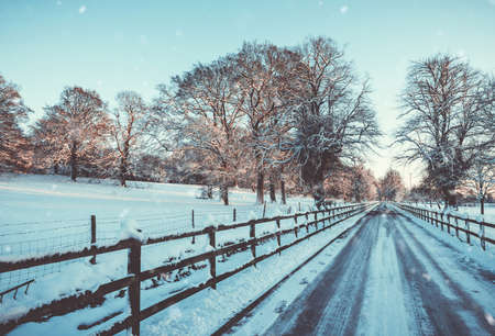 Snowy fence down a fence lined track in England in the evening sunlight Stock Photo - 95091544