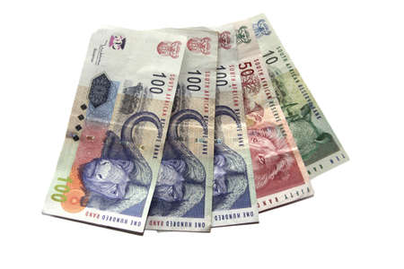 South African money isolated on a white background photo