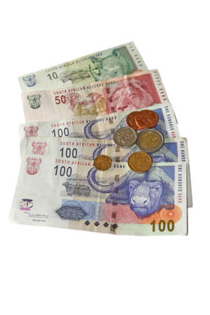 South African money (incl coins) isolated on a white background photo