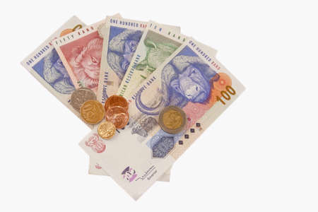 south african: South African money (and coins) isolated on a white background