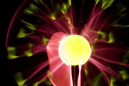 Electric Plasma Sphere in Yellow with crimson flares