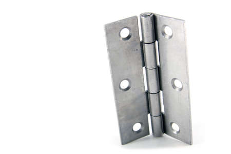 Stainless steel hinge isolated on white Stock Photo