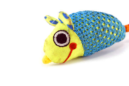 Colourful fabric toy mouse isolated on white Stock Photo - 5608195