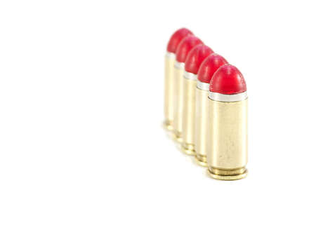 9mm Shock rounds  bullets lined up Stock Photo
