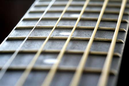 Closeup of a quality acoustic quitar fretboard