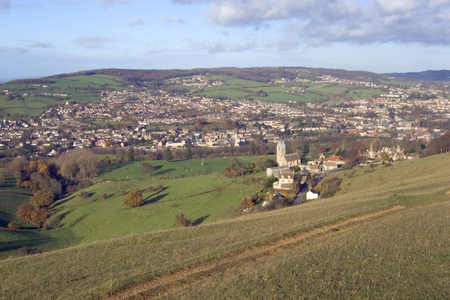 UK, Cotswolds, Gloucestershire, view over the Stroud Valleys from the Cotswold Way on Selsey Common