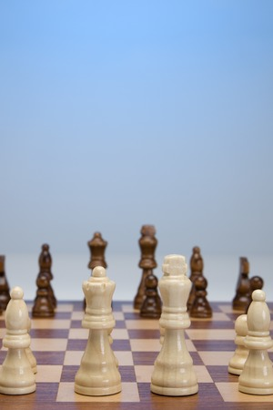 Game of chess set out ready to start Stock Photo