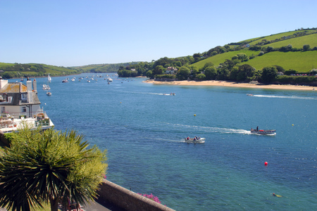Perfect weather for boating on the Kingsbridge Estuary at Salcombe, Devon, UK Stock Photo