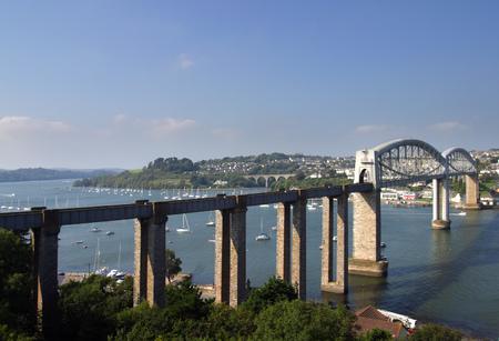 Brunels rail bridge over the Tamar at Saltash between Devon & Cornwall, UK Фото со стока