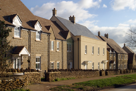 New housing devlopment with varied architectural styles
