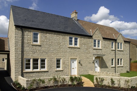 Finished houses on a new property development Stock Photo
