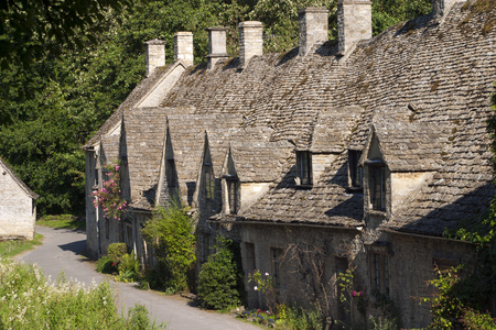 Arlington Row, former weavers cottages, Bibury, Cotswolds, Gloucestershire, UK