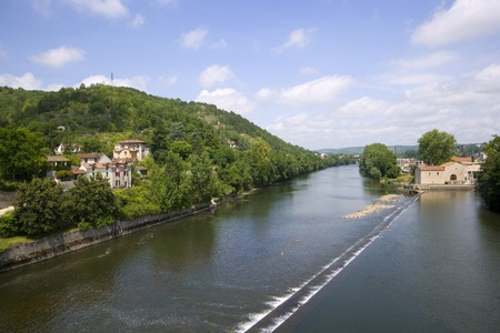 View down the River Lot from Pont Valentre, Cahors,  Lot, France