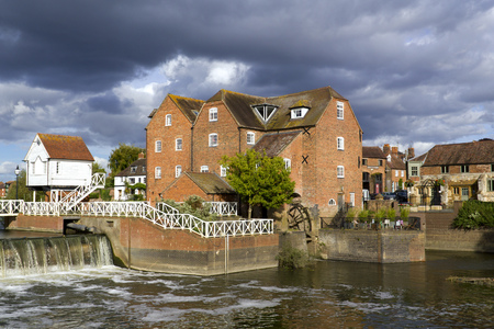 Restored Abbey Mill and sluices, Tewkesbury, Gloucestershire, Severn Vale, UK Stock Photo