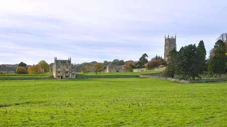 Historic Chipping Campden architecture viewed across the fields, Gloucestershire, Cotswolds, UK