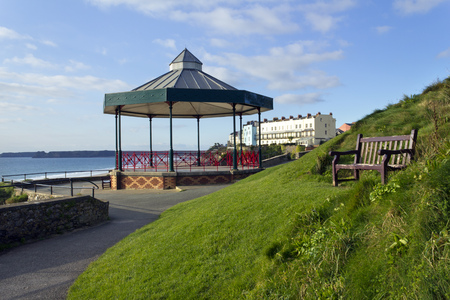 UK, Wales, Pembrokeshire, the bandstand on Castle Hill in winter sunshine at Tenby Stock Photo