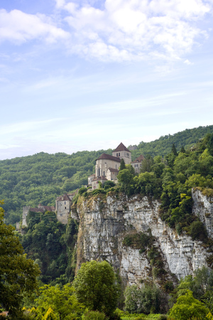 Europe, France, Midi Pyrenees, the historic clifftop village tourist attraction of St Cirq Lapopie in The Lot