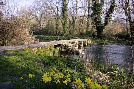 The ancient clapper bridge at Eastleach in spring sunshine in the Cotswolds, Gloucestershire, UK