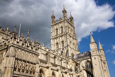 The tower of Gloucester cathedral in spring sunshine, Gloucestershire, UK