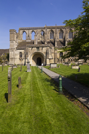 Historic Malmesbury Abbey in spring sunshine, Wiltshire, UK Stock Photo
