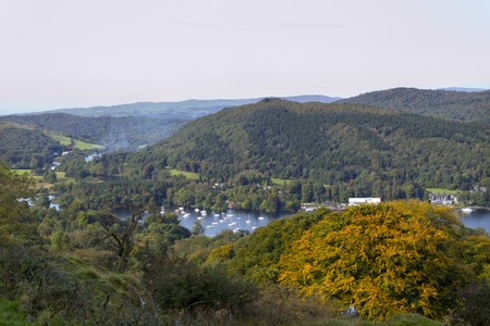 View over the southern end of Lake Windermere from the hills above Newby Bridge, The Lake District, Cumbria, UK