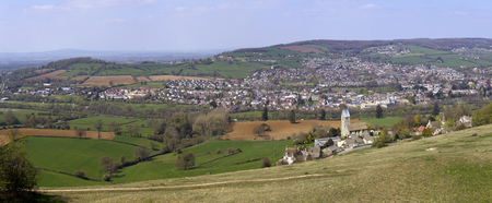 UK, Cotswolds, Gloucestershire, panoramic spring view over the Stroud Valleys from Selsey Common. Stitched panorama.
