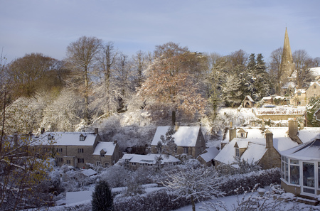 England, Gloucestershire, Cotswolds, Bisley, winter view