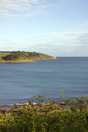 England, Cornwall, St Mawes, view to St Anthony Head and lighthouse