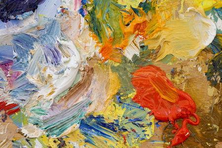 Artists oil paints multi coloured close up semi abstract
