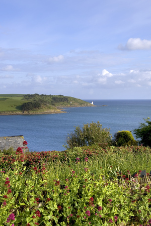 View to St Anthony Head and lighthouse, St Mawes, Cornwall, UK