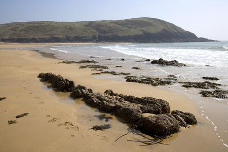UK, Wales, Pembrokeshire, Manorbier Bay in spring sunshine
