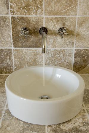 Contemporary wash hand basin Stock Photo