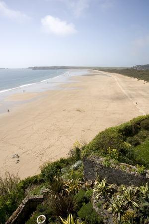 UK, Wales, Pembrokeshire, Tenby, empty South Beach view