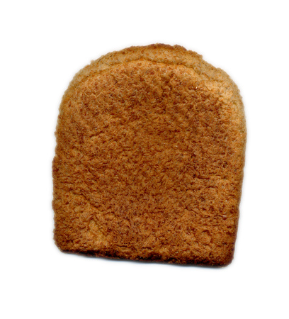 Crust of brown bread on white background