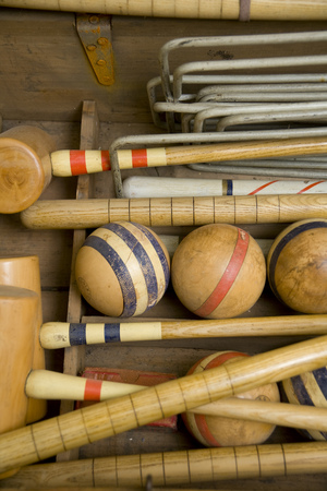 Old wooden croquet game set close up
