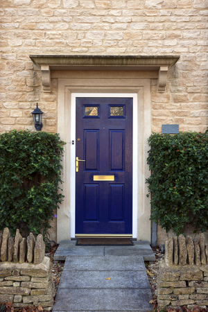 Modern blue painted front door flanked by shrubs Stock Photo