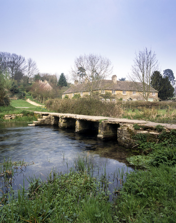 UK, Cotswolds, Gloucestershire, Eastleach, the ancient clapper bridge over The River Leach