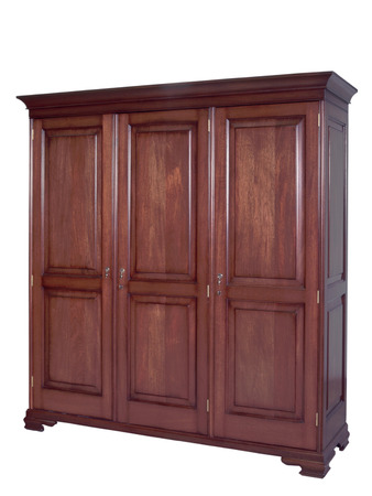 Traditional wooden furniture. A wardrobe on a plain white background.