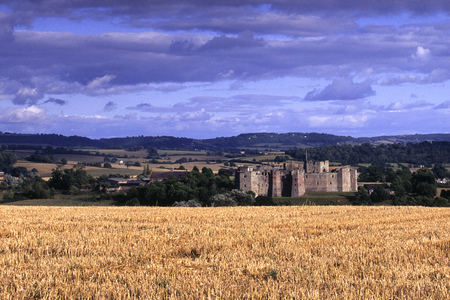 Autumn sunshine over Raglan Castle, Monmouthshire, Wales, UK
