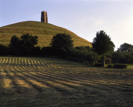 Evening sunshine hay field, Glastonbury Tor, Somerset, UK