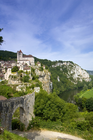 The historic clifftop village tourist attraction of  St Cirq Lapopie in the Lot Valley, Lot, France