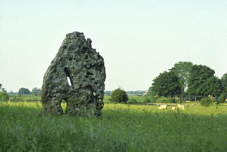 England, Cotswolds, Gloucestershire, Minchinhampton, The Tingle Stone, ancient standing stone