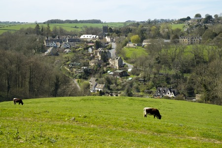 Spring sunshine view of Horsley village, Cotswolds, Gloucestershire, UK Stock Photo