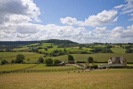 Rural Gloucestershire countryside beneath the Cotswold escarpment near Dursley, UK