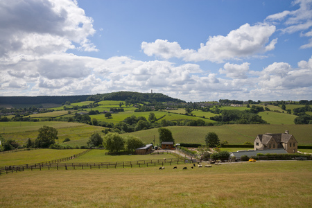 Rural Gloucestershire countryside beneath the Cotswold escarpment near Dursley, UK